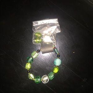 Jewelry - Multi green glass bead bracelet and earrings